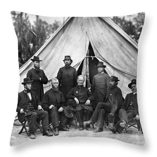 1864 Throw Pillow featuring the photograph Civil War: Chaplains, 1864 by Granger
