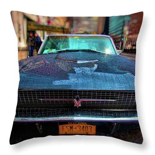 Rain Throw Pillow featuring the photograph Classic 66 Tbird by Chris Lord