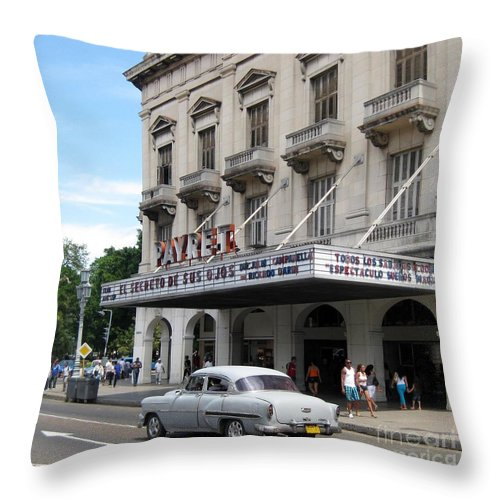 Cars Throw Pillow featuring the photograph Classic Auto And Old Movie Theatre by John Malone
