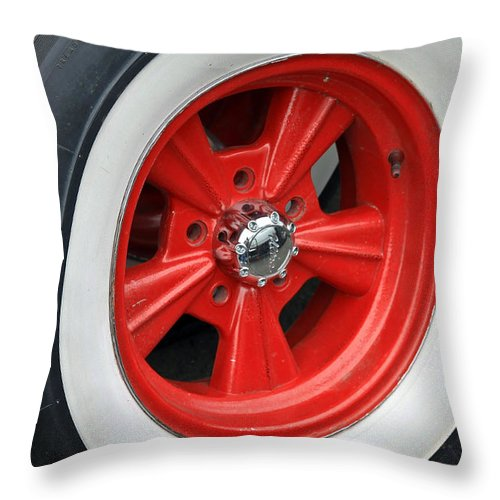Mag Wheel Throw Pillow featuring the photograph Classic White Wall Tire And Mag by Steve McKinzie