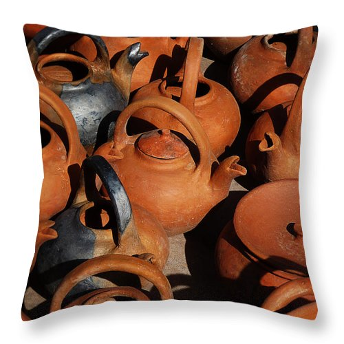 Still Life Throw Pillow featuring the photograph Clay Factory In Argentina by Xueling Zou