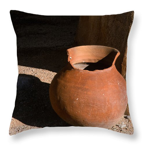 Mexican Pottery Throw Pillow featuring the photograph Clay Pot And Shadow by Sandra Bronstein