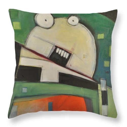 Cartoon Throw Pillow featuring the painting Clergy Pants On Fire by Tim Nyberg