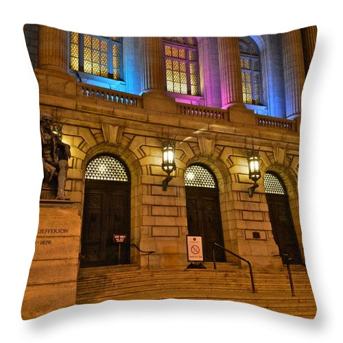 Court Throw Pillow featuring the photograph Cleveland Court House by Frozen in Time Fine Art Photography
