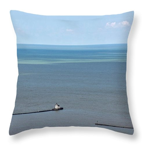 Lighthouse Throw Pillow featuring the photograph Cleveland Harbor Lighthouse by Dale Kincaid