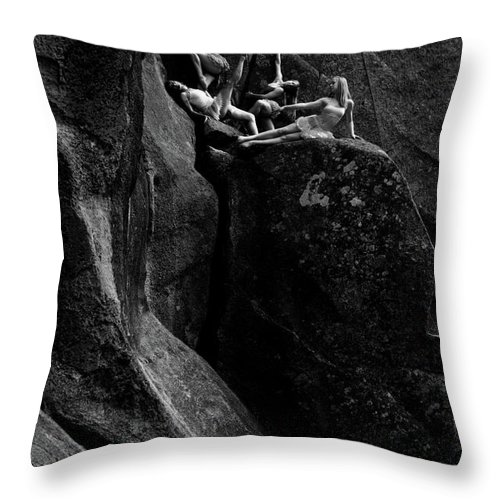 Cliff Throw Pillow featuring the photograph Cliff Dancers Black And White by Scott Sawyer