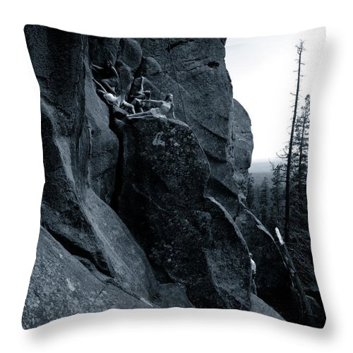 Dancers Throw Pillow featuring the photograph Cliff Dancers Three Black And White by Scott Sawyer