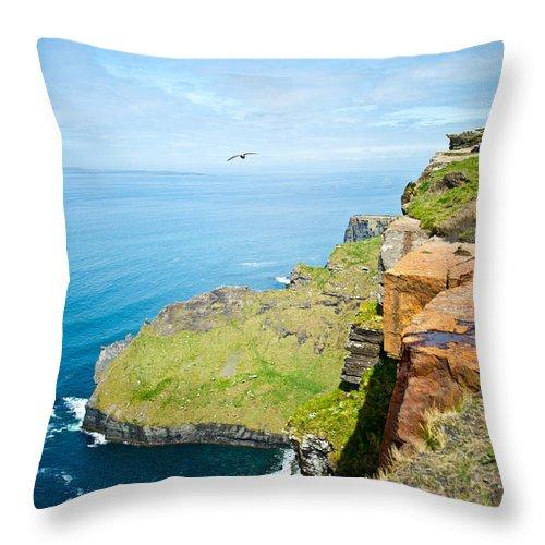 Cliffs Throw Pillow featuring the photograph Cliff Of Moher 22 by Douglas Barnett