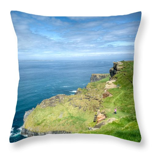 Cliffs Throw Pillow featuring the photograph Cliff Of Moher 27 by Douglas Barnett