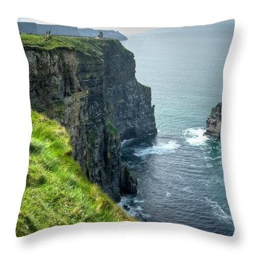 Cliffs Throw Pillow featuring the photograph Cliff Of Moher 29 by Douglas Barnett