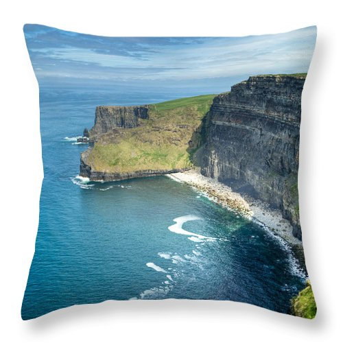 Cliffs Throw Pillow featuring the photograph Cliff Of Moher 32 by Douglas Barnett
