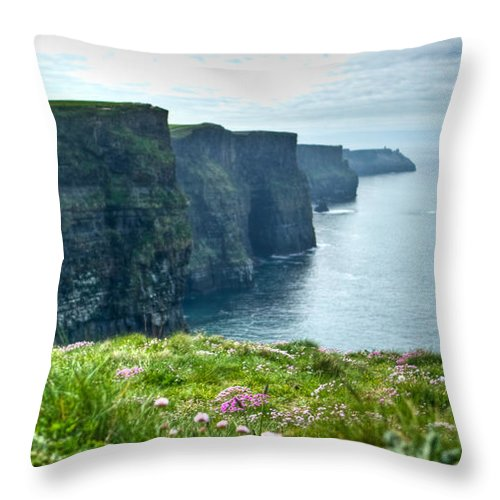 Cliffs Throw Pillow featuring the photograph Cliff Of Moher 33 by Douglas Barnett