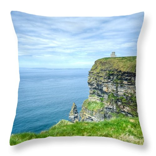 Cliffs Throw Pillow featuring the photograph Cliff Of Moher 34 by Douglas Barnett