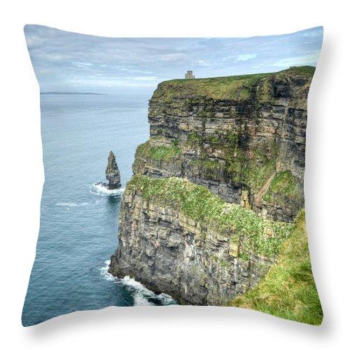 Cliffs Throw Pillow featuring the photograph Cliff Of Moher 35 by Douglas Barnett
