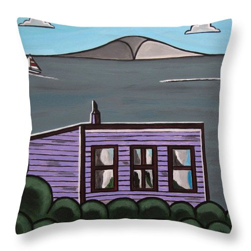 Beach Scenes Throw Pillow featuring the painting Cliff Top by Sandra Marie Adams