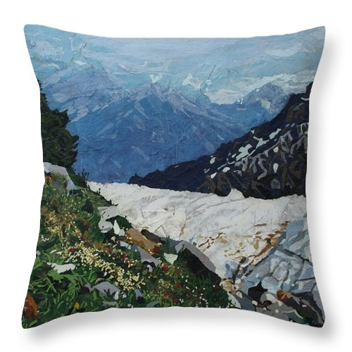Landscape Throw Pillow featuring the painting Climbing Mount Rainier by Leah Tomaino