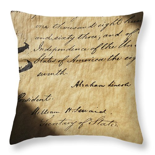 Legislation Throw Pillow featuring the photograph Close-up Of Emancipation Proclamation by Todd Gipstein