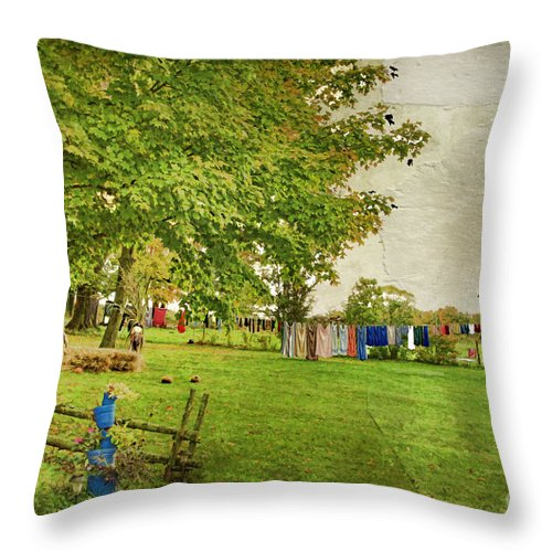 Landscape Throw Pillow featuring the photograph Clothes On The Line by Deborah Benoit