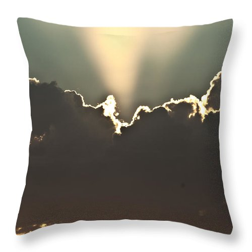 Clouds Throw Pillow featuring the photograph Cloud Beams by Stephanie Haertling