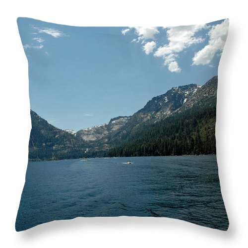 Usa Throw Pillow featuring the photograph Clouds Above Emerald Bay by LeeAnn McLaneGoetz McLaneGoetzStudioLLCcom
