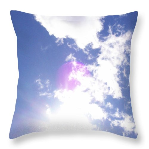 Cloud Throw Pillow featuring the photograph Clouds With Orb by Corinne Elizabeth Cowherd