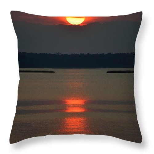 Sun Throw Pillow featuring the photograph Cloudy Bay Sunset by William Bartholomew