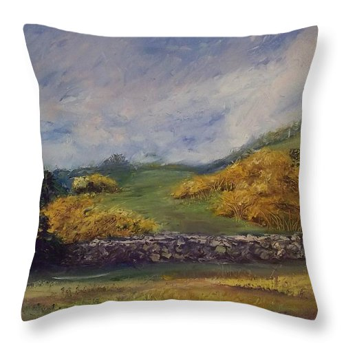 Landscape Throw Pillow featuring the painting Clover Fields by Stephen King