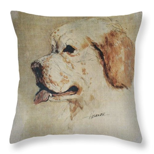 Clumber Spaniel Throw Pillow featuring the painting Clumber Spaniel Field Marshal by Ron Hevener