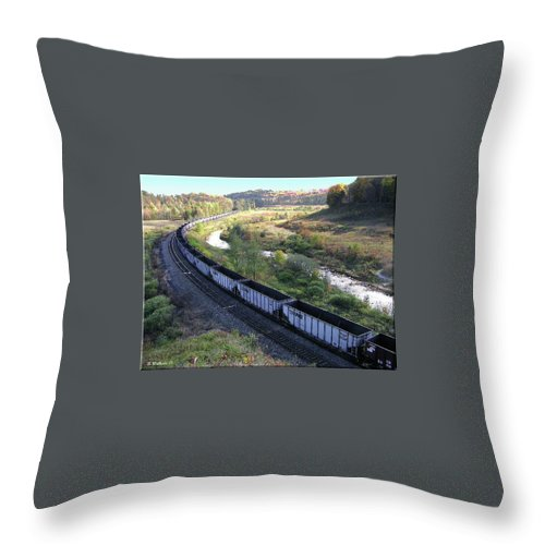 2d Throw Pillow featuring the photograph Coal Train - Johnstown by Brian Wallace