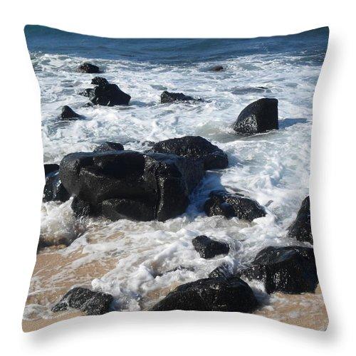 Rocks Throw Pillow featuring the photograph Coastal Rock Garden 2 by Kristina Zographos