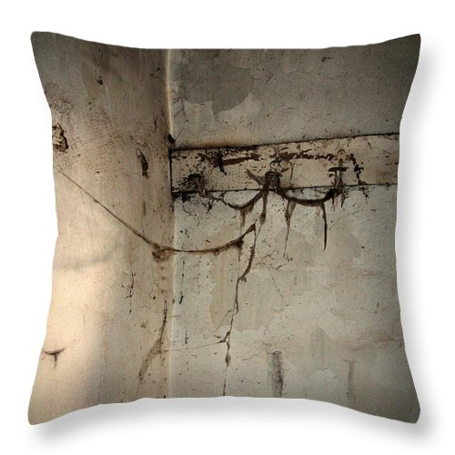 Cobweb Throw Pillow featuring the photograph Cobwebs On The Clothes Hook by RicardMN Photography