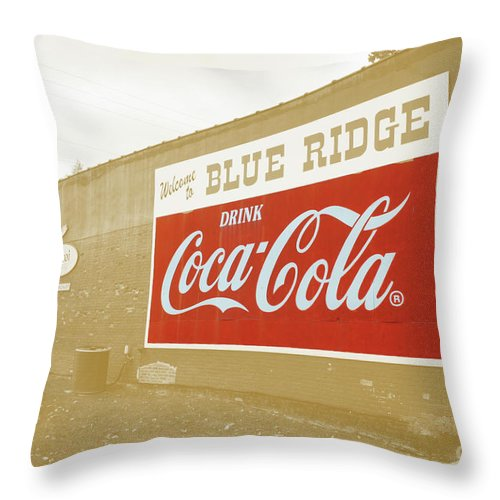 Blue Throw Pillow featuring the photograph Coca-cola Sepia by Jost Houk