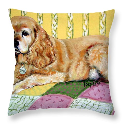 Cocker Spaniel Art Throw Pillow featuring the painting Cocker Spaniel On Quilt by Rebecca Korpita