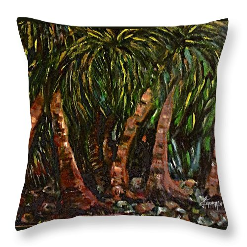 Throw Pillow featuring the painting Coconuts by Laura Fatta