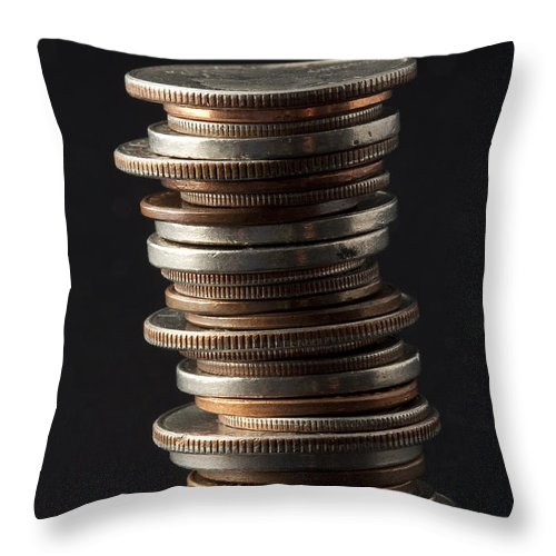 Photograph Throw Pillow featuring the photograph Coin Stack 1 by John Brueske