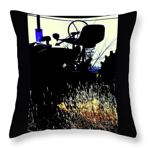 Farm Throw Pillow featuring the photograph Cold Morning Tractor by Joe Jake Pratt