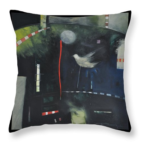 Bird Throw Pillow featuring the painting Colombe Dans Le Cirque De Nuit by Tim Nyberg