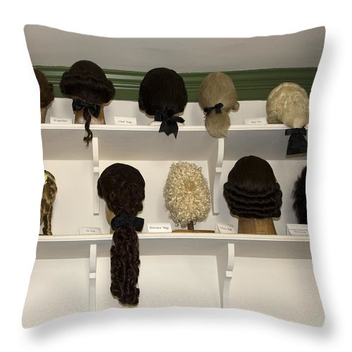 Colonial Wigs Throw Pillow featuring the photograph Colonial Wigs Display by Sally Weigand