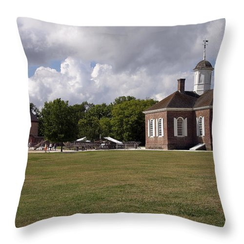 Courthouse Throw Pillow featuring the photograph Colonial Williamsburg Scene by Sally Weigand