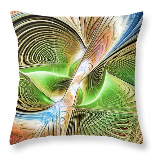 Fractal Throw Pillow featuring the digital art Color Etchings Of The Heart by Deborah Benoit