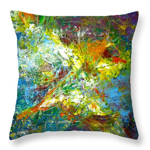 Abstract Throw Pillow featuring the painting color explosion NO. Seventy by Gretchen Ten Eyck Hunt