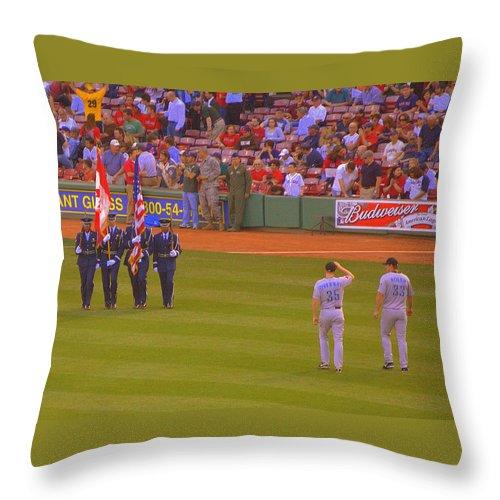 Baseball Throw Pillow featuring the photograph Color Guard by Sheri Bartoszek