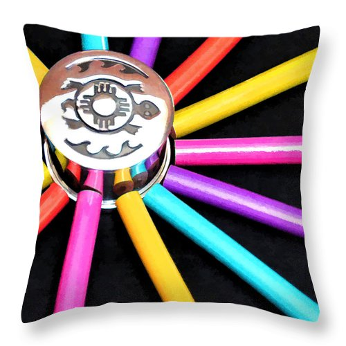 Colored Pencils Throw Pillow featuring the photograph Color Squared by Diane Wood