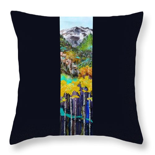 Colorado Landscape Throw Pillow featuring the painting Colorado Layers by Saundra Lane Galloway