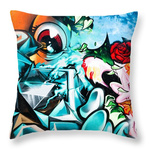 Abstract Throw Pillow featuring the painting Colorful Abstract Graffiti Wall by Yurix Sardinelly