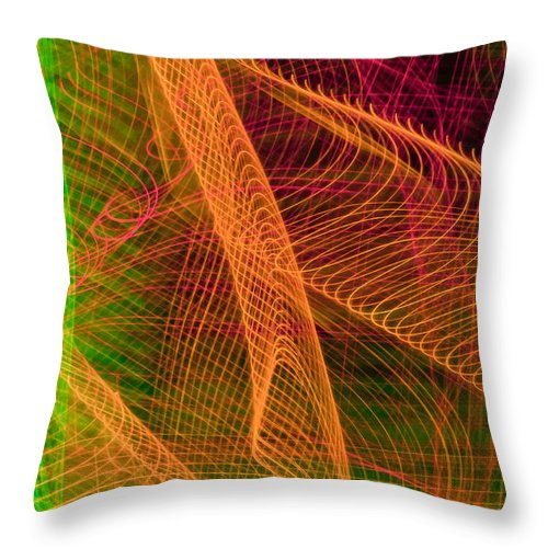 Abstract Throw Pillow featuring the photograph Colorful Beams 1 by Joye Ardyn Durham