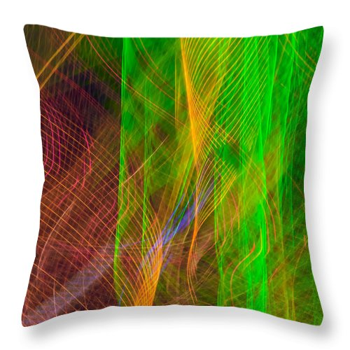 Abstract Throw Pillow featuring the photograph Colorful Beams 2 by Joye Ardyn Durham