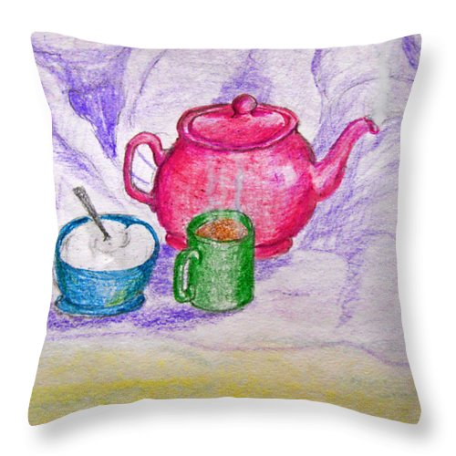 Still Life Throw Pillow featuring the drawing Colorful Coffee by Debbie Portwood