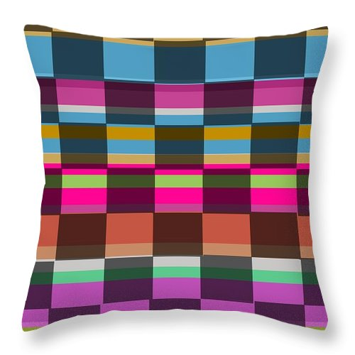 Colorful Cubes (digital) By Louisa Knight (contemporary Artist) Throw Pillow featuring the digital art Colorful Cubes by Louisa Knight