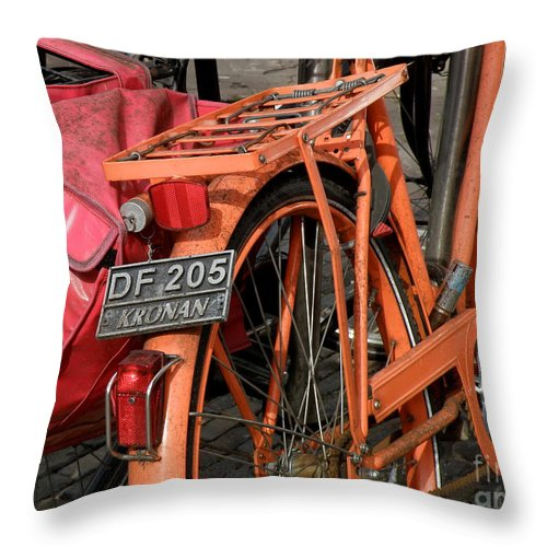Bikes Throw Pillow featuring the photograph Colorful Dutch Bikes by Lainie Wrightson